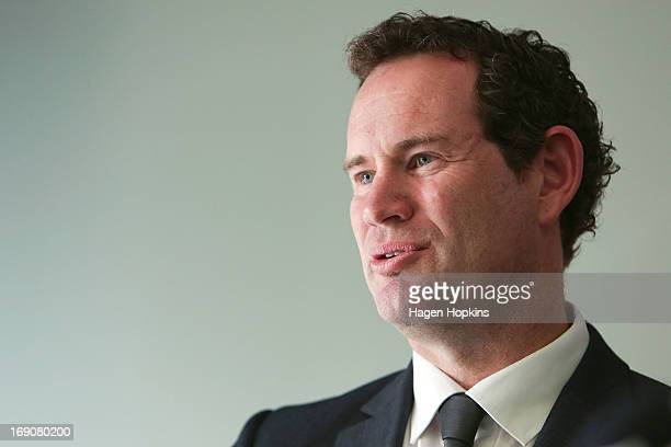 Phoenix general manager David Dome speaks to media during a Wellington Phoenix Aleague press conference at Westpac Stadium on May 20 2013 in...