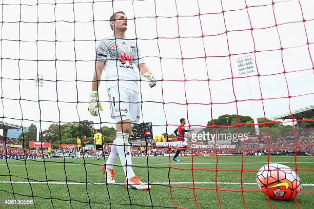 Phoenix goalkeeper Glen Moss Frederico looks dejected following a goal by Piovaccari of the Wanderers during the round seven ALeague match between...