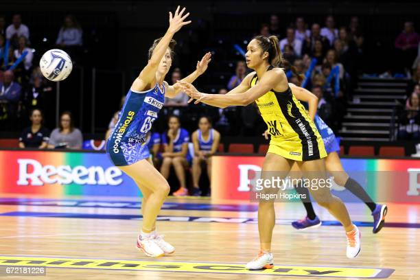 Phoenix Karaka of the Pulse passes during the New Zealand Premiership match between the Pulse and the Mystics TSB Bank Arena on April 24 2017 in...