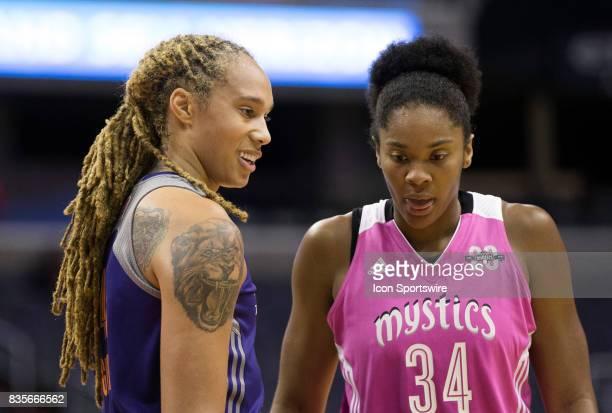 Phoenix Mercury center Brittney Griner and Washington Mystics center Krystal Thomas at the free throw line during a WNBA game on August 18 between...