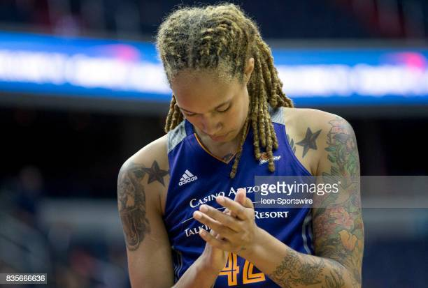 Phoenix Mercury center Brittney Griner at the free throw line during a WNBA game on August 18 between the Washington Mystics and the Phoenix Mercury...