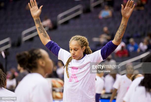 Phoenix Mercury center Brittney Griner before a WNBA game on August 18 between the Washington Mystics and the Phoenix Mercury at Capital One Arena in...
