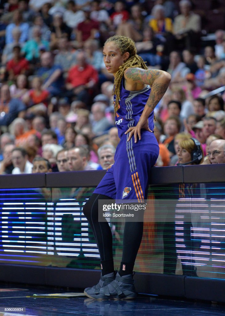Phoenix Mercury Center Brittney Griner (42) waits to get checked back into the game during the game as the Connecticut Sun host the Phoenix Mercury on August 20, 2017 at the Mohegan Sun Arena in Uncasville, Connecticut.