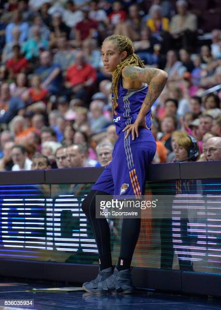 Phoenix Mercury Center Brittney Griner waits to get checked back into the game during the game as the Connecticut Sun host the Phoenix Mercury on...