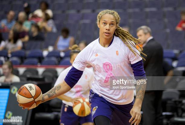 Phoenix Mercury center Brittney Griner warms up before a WNBA game on August 18 between the Washington Mystics and the Phoenix Mercury at Capital One...