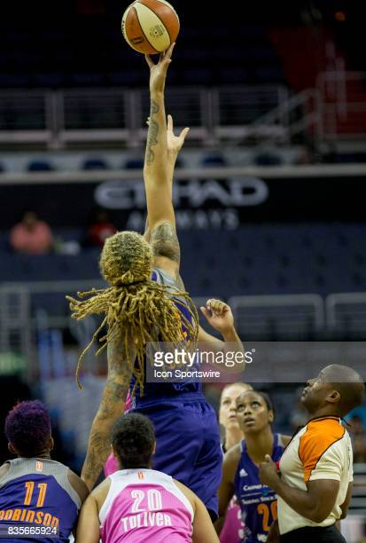 Phoenix Mercury center Brittney Griner wins the tip off to start the game during a WNBA game on August 18 between the Washington Mystics and the...