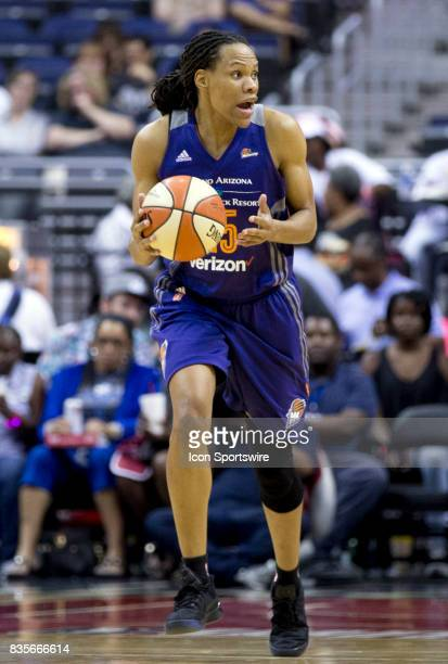 Phoenix Mercury forward Monique Currie moves up court during a WNBA game on August 18 between the Washington Mystics and the Phoenix Mercury at...
