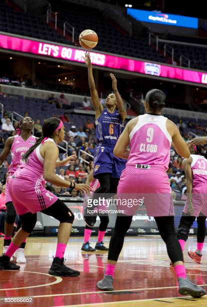 Phoenix Mercury guard Yvonne Turner takes a shot during a WNBA game on August 18 between the Washington Mystics and the Phoenix Mercury at Capital...