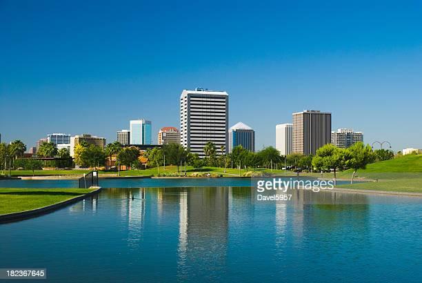 Phoenix Midtown skyline, park, and lake
