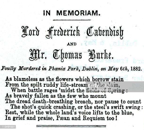 Phoenix Park Murders Dublin 6 May 1882 Memorial notice to Lord Frederick Cavendish Chief Secretary for Ireland and Thomas Burke Under Secretary From...