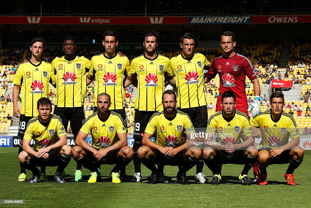 Phoenix players pose for a photo during the round 18 A-League match between Wellington Phoenix and Perth Glory at Westpac Stadium on February 7, 2016 in Wellington, New Zealand.