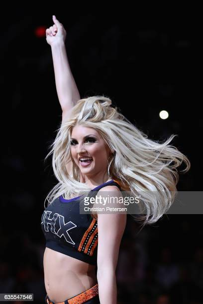 Phoenix Suns cheerleader performs during the second half of the NBA game against the Los Angeles Lakers at Talking Stick Resort Arena on February 15...