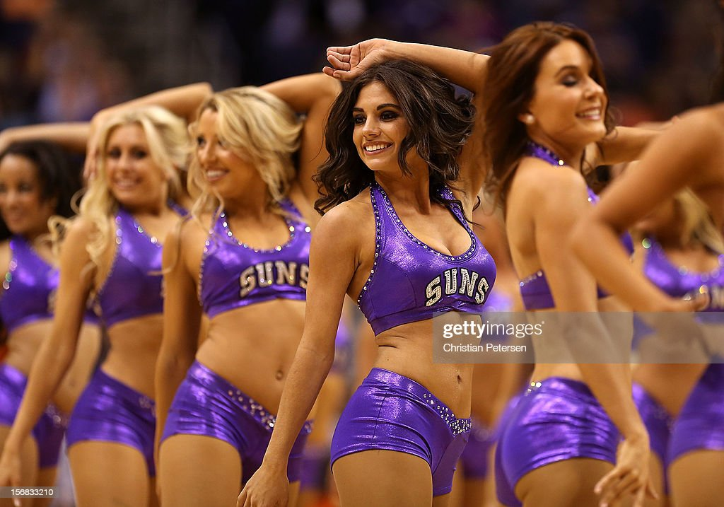 Phoenix Suns cheerleaders perform during the NBA game against the Portland Trail Blazers at US Airways Center on November 21, 2012 in Phoenix, Arizona.
