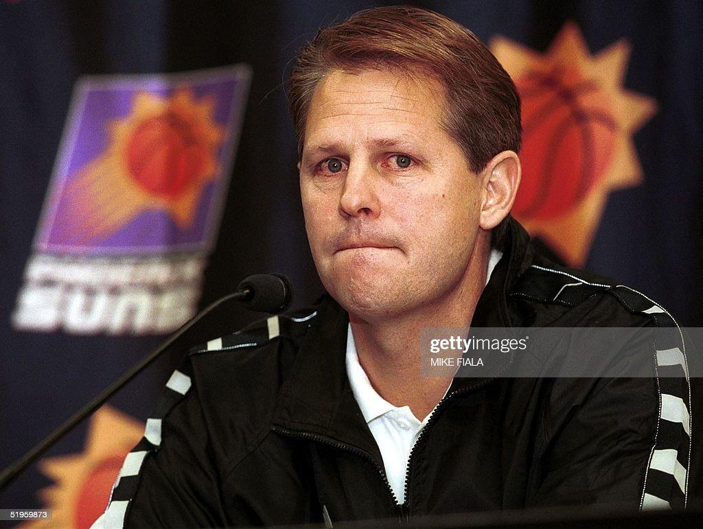 Phoenix Suns head coach Danny Ainge pauses while