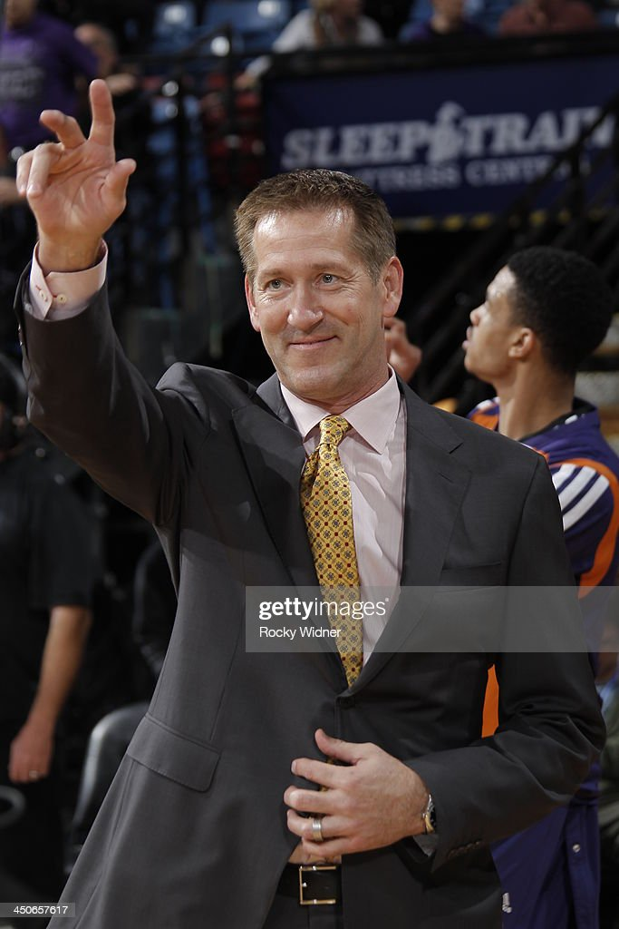 Phoenix Suns head coach Jeff Hornacek greets the crowd before the game against the Sacramento Kings at Sleep Train Arena on November 19 2013 in...