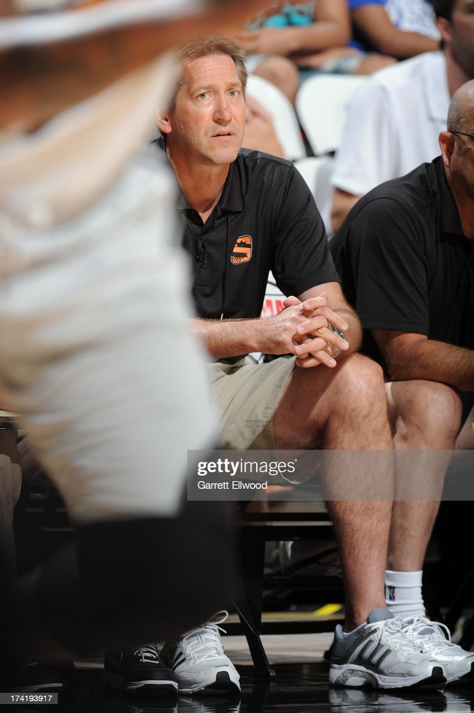 Phoenix Suns Head Coach JeffHornacek watches from the bench during NBA Summer League game between the Phoenix Suns and the Miami Heat on July 21, 2013 at the Cox Pavilion in Las Vegas, Nevada.
