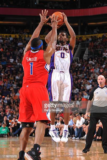 Phoenix Suns point guard Aaron Brooks goes for a jump shot during the game against the Los Angeles Clippers in an NBA game played on April 1 2011 at...