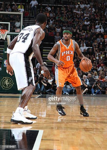 Phoenix Suns point guard Aaron Brooks protects the ball during the game against the San Antonio Spurs on April 3 2011 at the ATT Center in San...