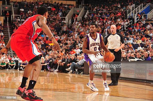 Phoenix Suns point guard Aaron Brooks protects the ball during the game against the Los Angeles Clippers in an NBA game played on April 1 2011 at US...