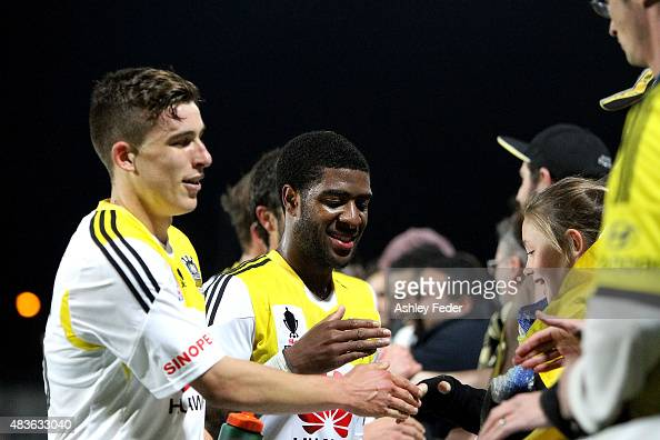 Phoenix team mates celebrate with fans after winning the FFA Cup match between Central Coast Mariners and Wellington Phoenix at Central Coast Stadium...