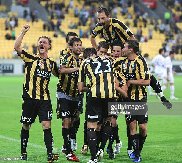 Phoenix teammates celebrate Marco Rojas' goal during the round 21 ALeague match between the Wellington Phoenix and the Melbourne Victory at the...