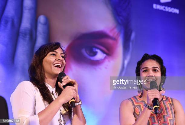 Phogat Sisters Geeta and Babita interacts with women on the occasion International Women's Day at a function in Ericsson Forum DLF Cybercity on March...