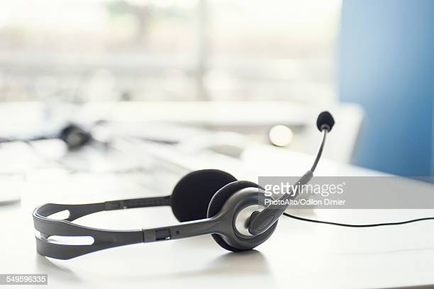 Phone headset on desk