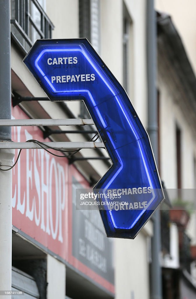 A phone store sign is pictured on December 25, 2012 in Paris.