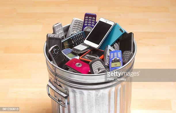 Phones and smart phones in dustbin