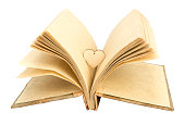 old photebook and heart with white background