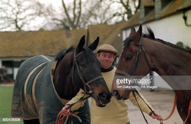 PA Photo 10/3/1994 Racehorse trainer Nicky Henderson with horse Remittance Man and Travado