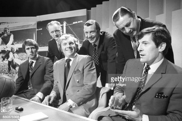 Geoff Hurst Bobby Moore Alan Mullery Tom Finney Johnny Haynes Stan Mortensen during recording for the BBC 1 quiz show A Question of Sport at the BBC...