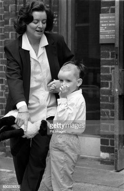 PA Photo 2/8/1988 Four yearold Flora Keays the daughter of Energy Secretary Cecil Parkinson leaving the Maudsley Hospital in South London holding the...