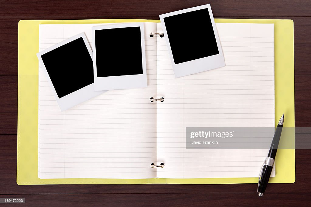 Photo album and blank photo prints : Stock Photo