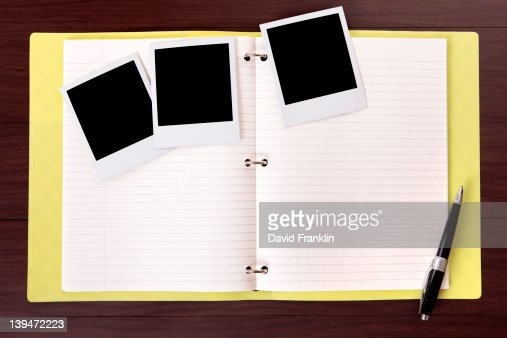Photo album and blank photo prints : Stock Photo
