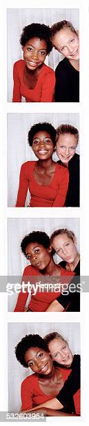 Photo booth portrait of friends