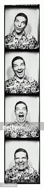 Photo Booth strip of man pulling faces (B&W)