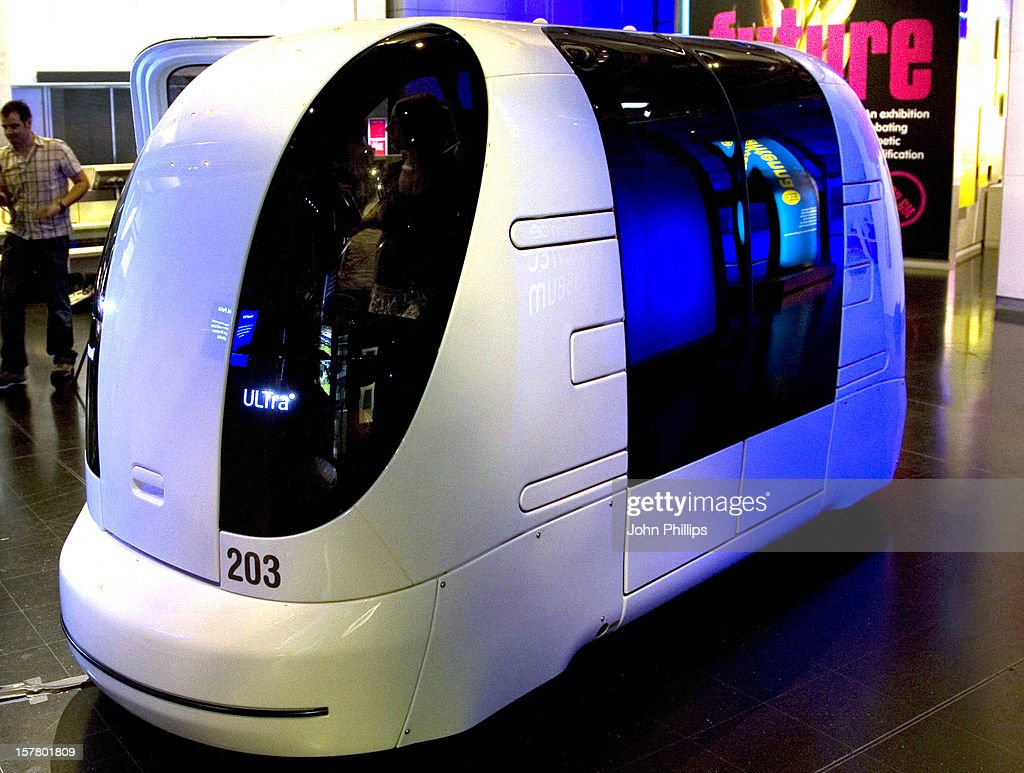 Photo Call For 'The Pod Car' A Driverless Vehicle Which Is Being Showcased At The Science Museum. The Vehicle Is Part Of A Fleet Currently Being Tested At Heathrow Airport Before Opening To Passengers Next Year When It Will Be A World First.