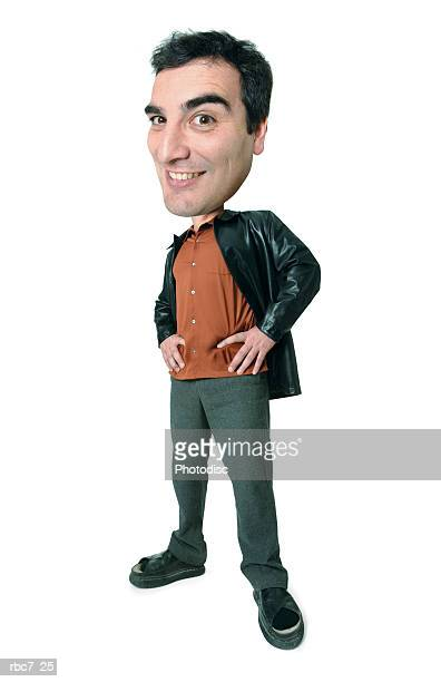 photo caricature of a caucasian man in a orange shirt and leather jacket as he puts his hands on his hips and smiles