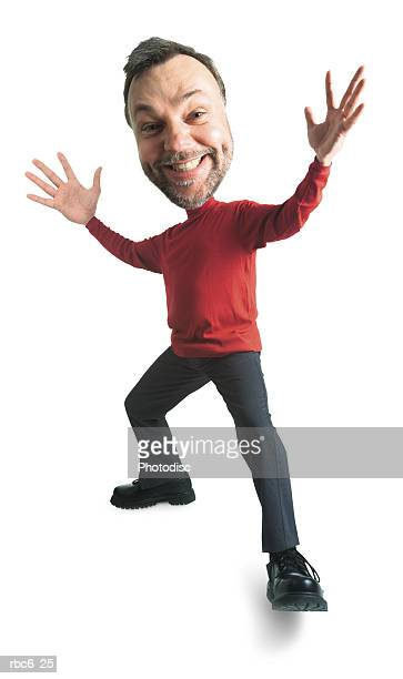 photo caricature of a caucasian man in a red turtleneck as he throws his arms out in surprise