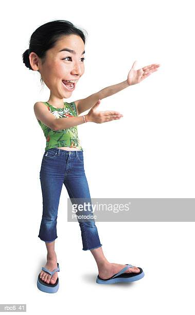 photo caricature of a teenage asian girl in jeans and a green shirt as she raises up her arms and gestures to something