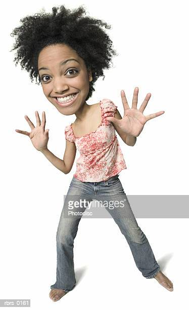 photo caricature of a young adult woman in jeans and a floral shirt as she waves out