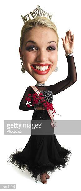 photo caricature of a young blonde beauty queen dressed in an evening gown and crown as she smiles big and waves