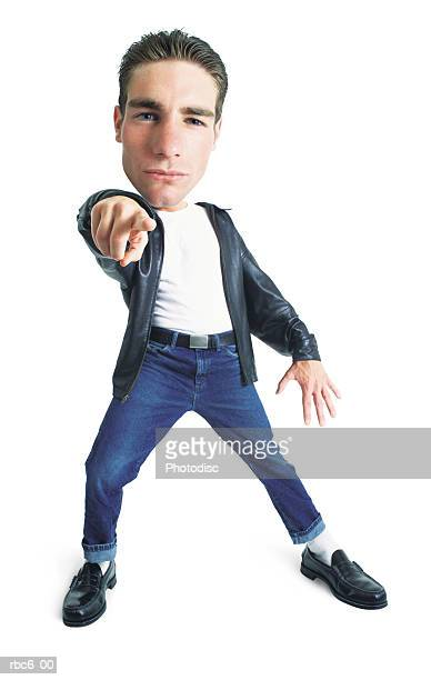 photo caricature of a young caucasian man in blue jeans and a leather jacket who strikes a dance pose and points