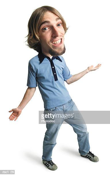photo caricature of a young caucasian man in jeans and a blue shirt leans back and outstretches his arms in a welcoming gesture