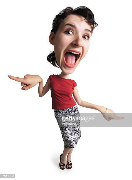 photo caricature of a young caucasian woman in a red shirt and a floral skirt opens her mouth wide while dancing boogie woogie style
