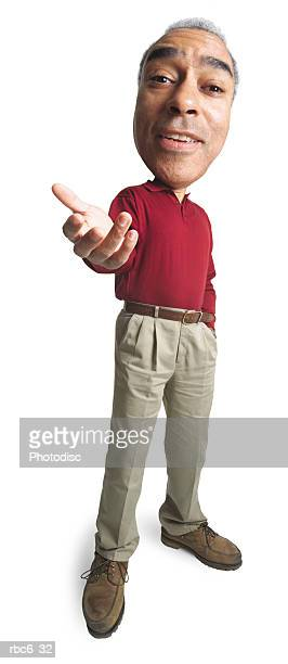 photo caricature of an adult african american man in tan pants and a red shirt as he gestures with his hand
