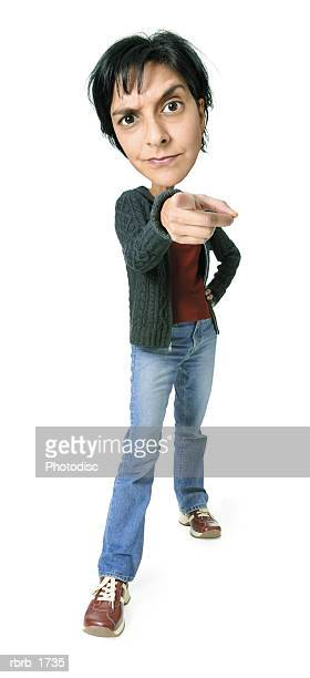 photo caricature of an adult ethnic woman in jeans and a grey sweater as she toughly points at the camera