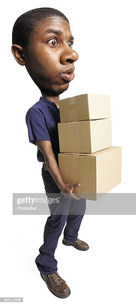 photo caricature of an african american delivery man as he carries a group of boxes : Stock Photo