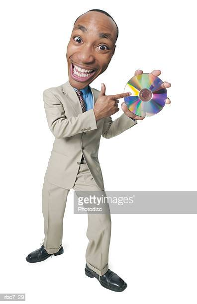 photo caricature of an african american man dressed in a tan suit as he points with enthusiasm to a cd